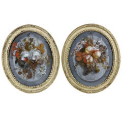 CHARMING PAIR OF ENGLISH REVERSE PAINTING ON GLASS OF FLOWERS