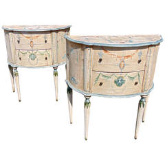 Pair of Neoclassical Style Painted Two-Drawer Commodes