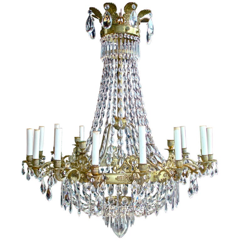 Period English Regency Neoclassical Twenty Light Chandelier