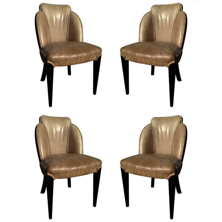 TWO Pairs of Period Art Deco Ebonized Side Chairs