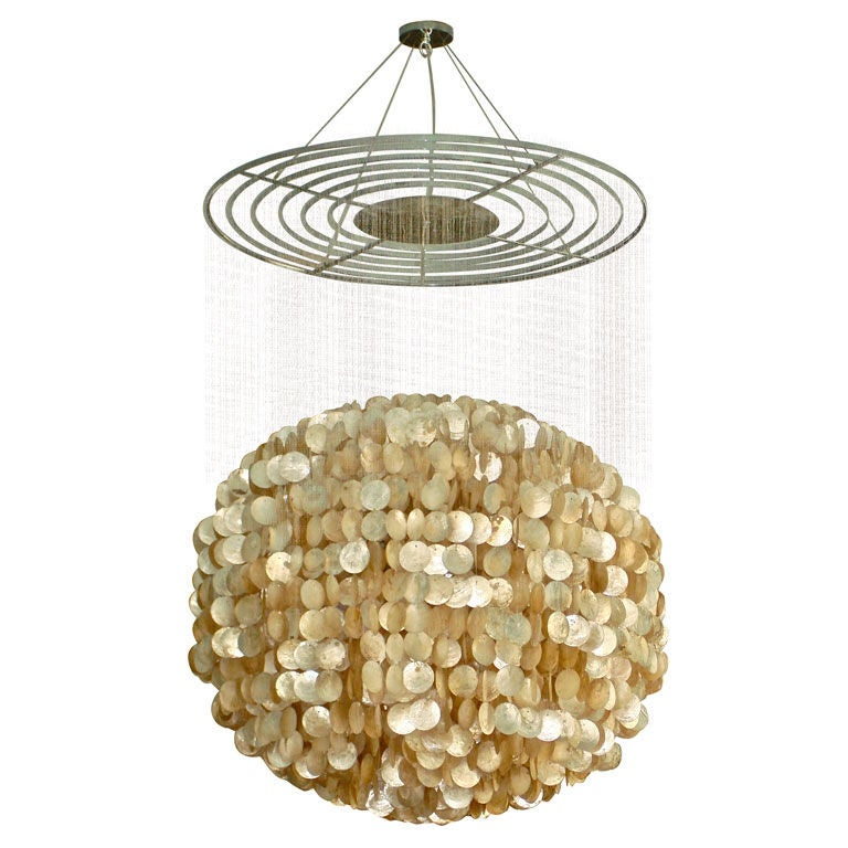 Large Capiz Shell Chandelier In Rare Globe Form At 1stdibs