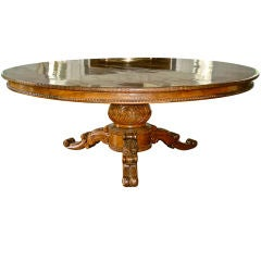 Large Round Regency Colonial Trade Dining Table