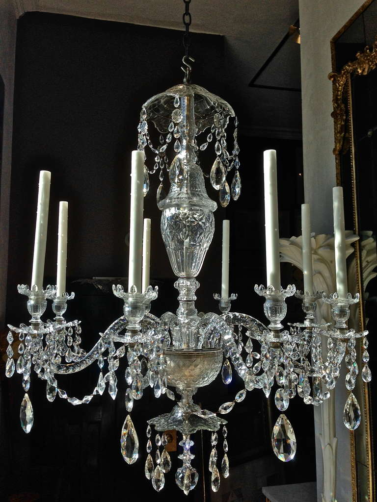 Good early 19th century english georgian crystal 8 light chandelier period early 19th century english or irish cut crystal chandelier georgian possibly by parker or arubaitofo Image collections