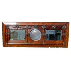 Art Nouveau Solid Rosewood Over Mantel Mirror
