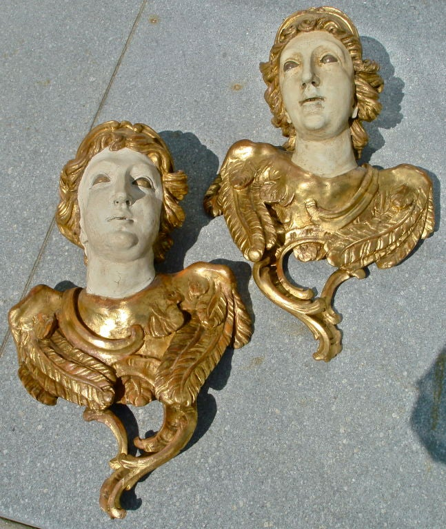 Pair Of Large Lifesize 18th Century Italian Angel Busts