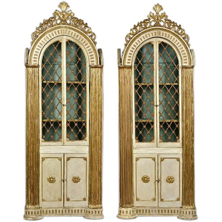 Pair of Italian Neoclassical Library Cabinets or Bookcases For Sale