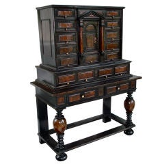 17th Century Flemish Ebony and Burl Vargueno Cabinet