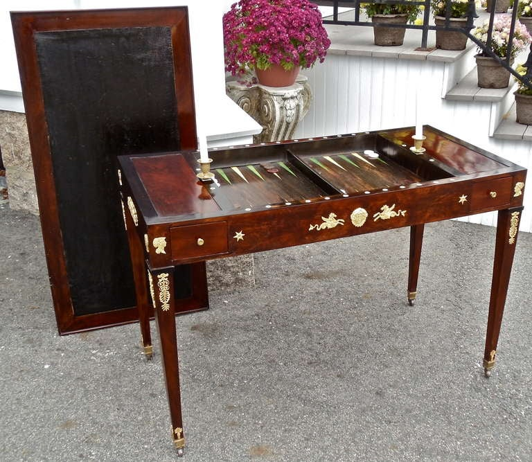 Period French Empire Ormolu Mounted Tric Trac Or Backgammon Table 3