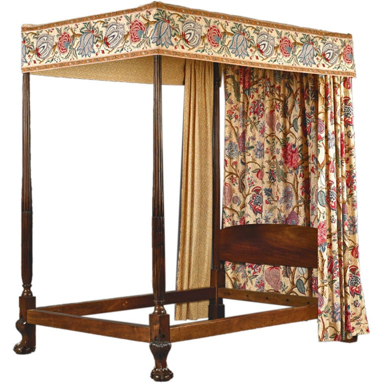 Important Chippendale Mahogany Four Poster Canopy Bed At