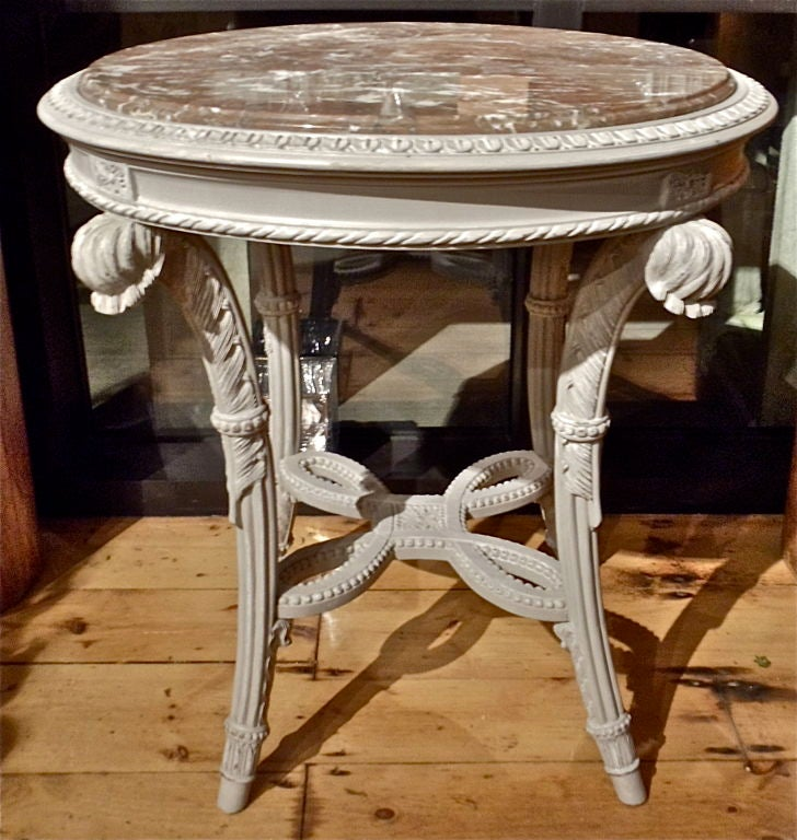 PAIR of Painted Marble Top Gueridons.  Prince of Wales Feather Supports Realistically Carved in Neoclassical Motif.  Possibly Jansen.  End Table, Side Table or use as Gueridon or Center Table