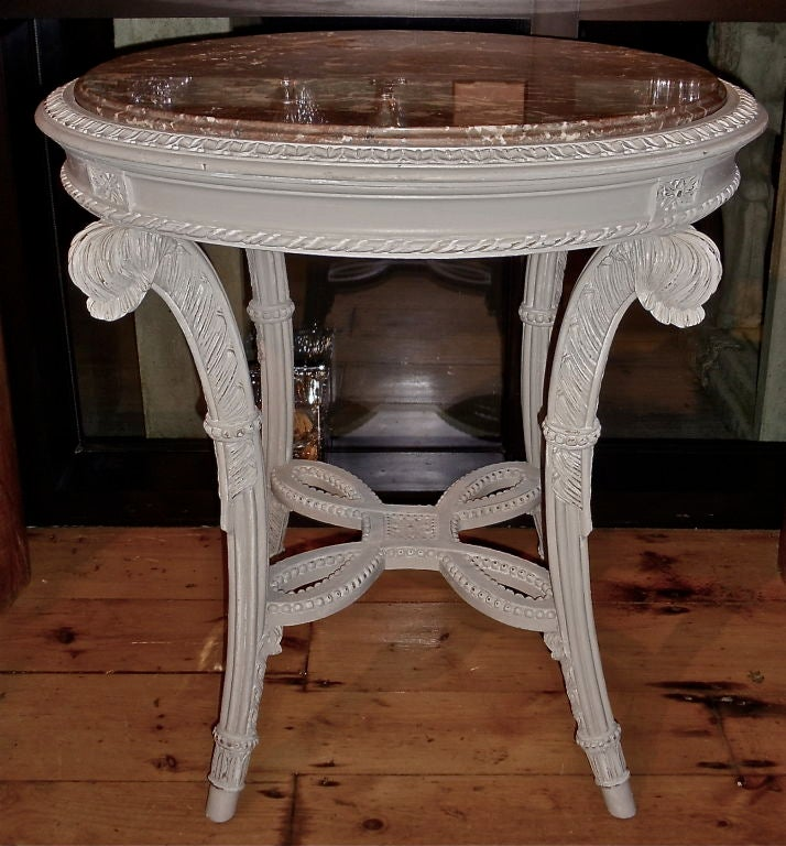 Carved PAIR of Neoclassical Painted Marble Top Gueridons or End Tables For Sale