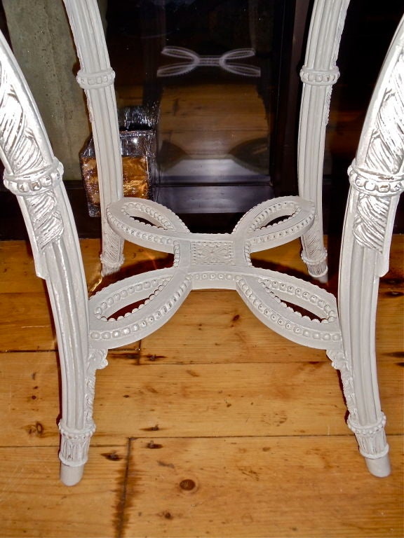 PAIR of Neoclassical Painted Marble Top Gueridons or End Tables In Excellent Condition For Sale In Essex, MA