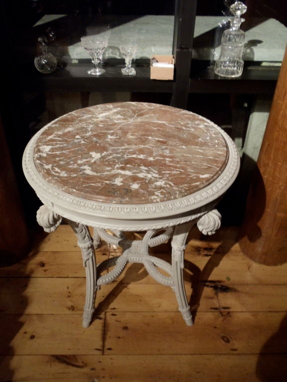 PAIR of Neoclassical Painted Marble Top Gueridons or End Tables For Sale 3