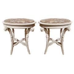 PAIR of Neoclassical Painted Marble Top Gueridons or End Tables