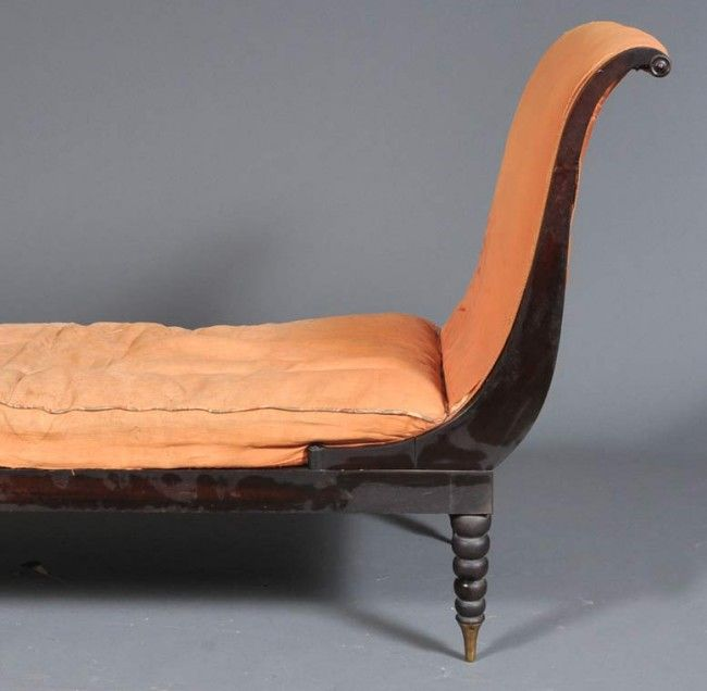 Stylish 19th Century Mahogany Sofa or Recamier Identical to that Owned by Juliette Recamier<br /> <br /> Jacques-Louis David's famous painting of 1800 depicts Madame Recamier in the identical sofa and it was from her name that this genre of