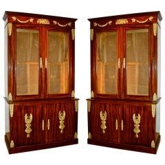 PAIR of Napoleon III Mahogany Empire Bookcases