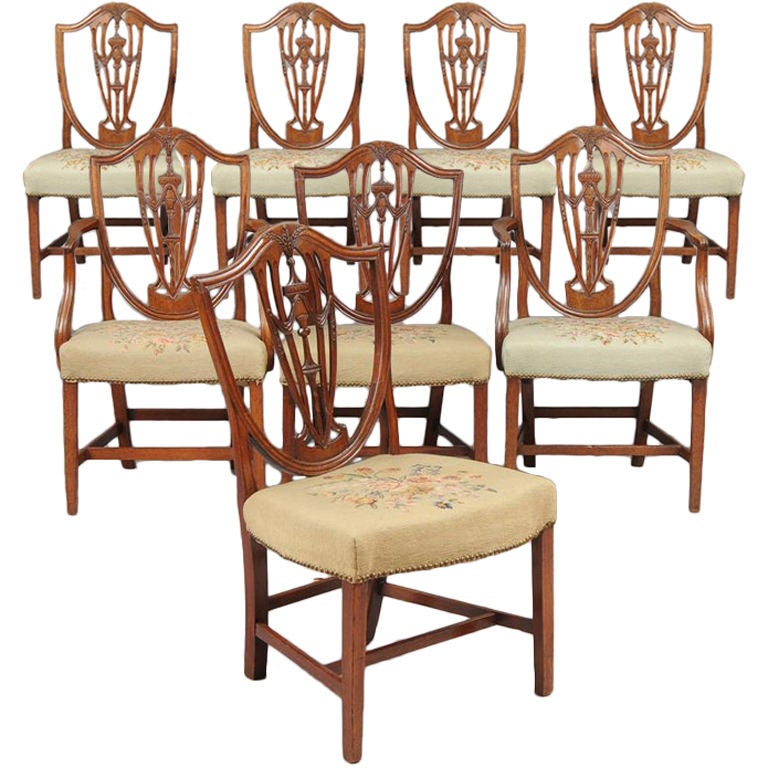 Set of eight period american hepplewhite dining chairs at for 8 dining room chairs