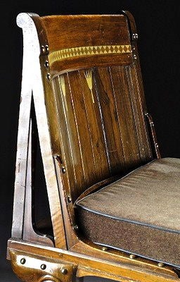 Rare French Egyptian Revival Ivory Inlaid Chaise Or