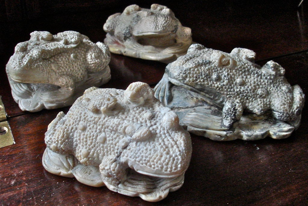 Collection of four chinese soap stone toads for sale at