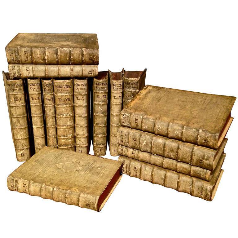 Fifteen Volumes Leather Bound Books of Opera Omnia by Jacobi Gretseri