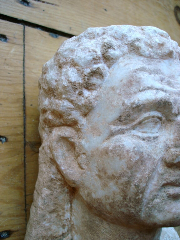 Carved Ancient Roman Marble Bust of a Man 2nd Century For Sale