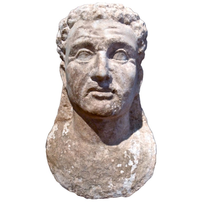 Ancient Roman Marble Bust of a Man 2nd Century For Sale