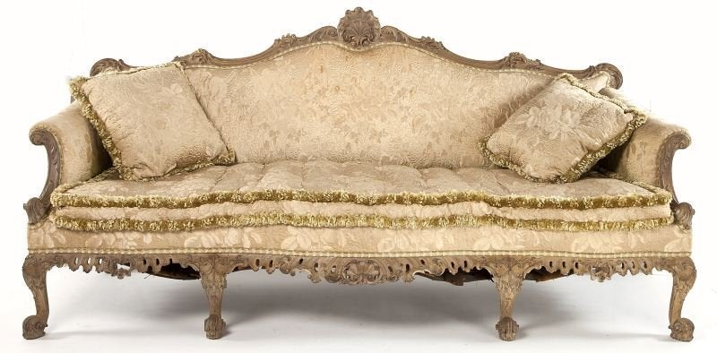George II Style Carved Rocaille Sofa.  Amazing Period Style Work.