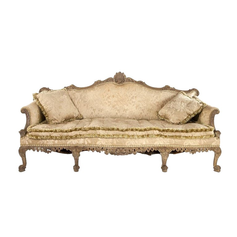 Magnificent Georgian Chippendale Style Walnut Sofa For Sale