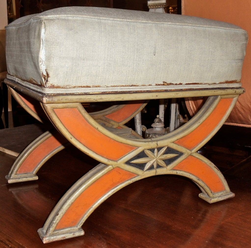 folk art curule form footstool or tabouret for sale at 1stdibs. Black Bedroom Furniture Sets. Home Design Ideas