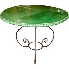 Green Glazed Terracotta Center Table Signed St. Jean De Fos
