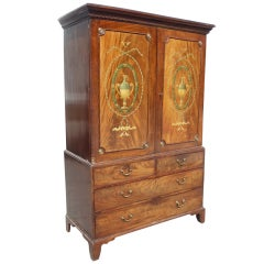 Period George III Well Figured Mahogany Linen Press