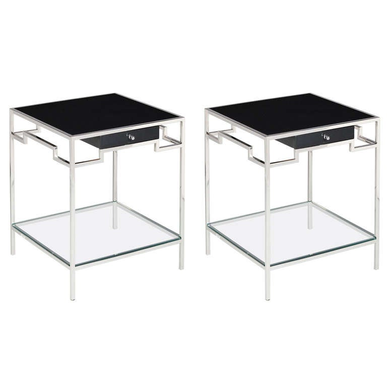 Pair Of Stainless Steel Side Tables By Willy Rizzo At 1stdibs