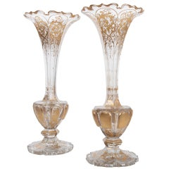 Italian Pair of 19th Century Crystal and Gilt Vases