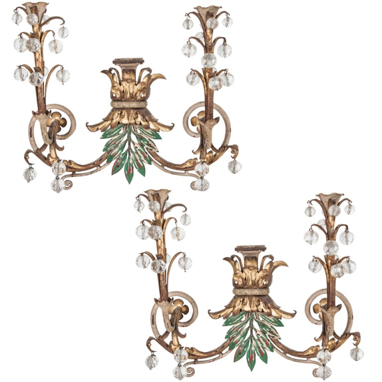 Wall Sconces Italian : Italian Pair of 1920s Painted Wall Sconces at 1stdibs