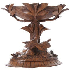 English 19th Century Black Forest Carved Wood Compote