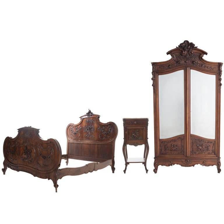 French 19th Century Louis XV Walnut 3-Piece Bedroom Set For Sale ...