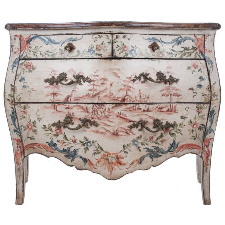 Italian 19th Century Painted Bombe Chest For Sale