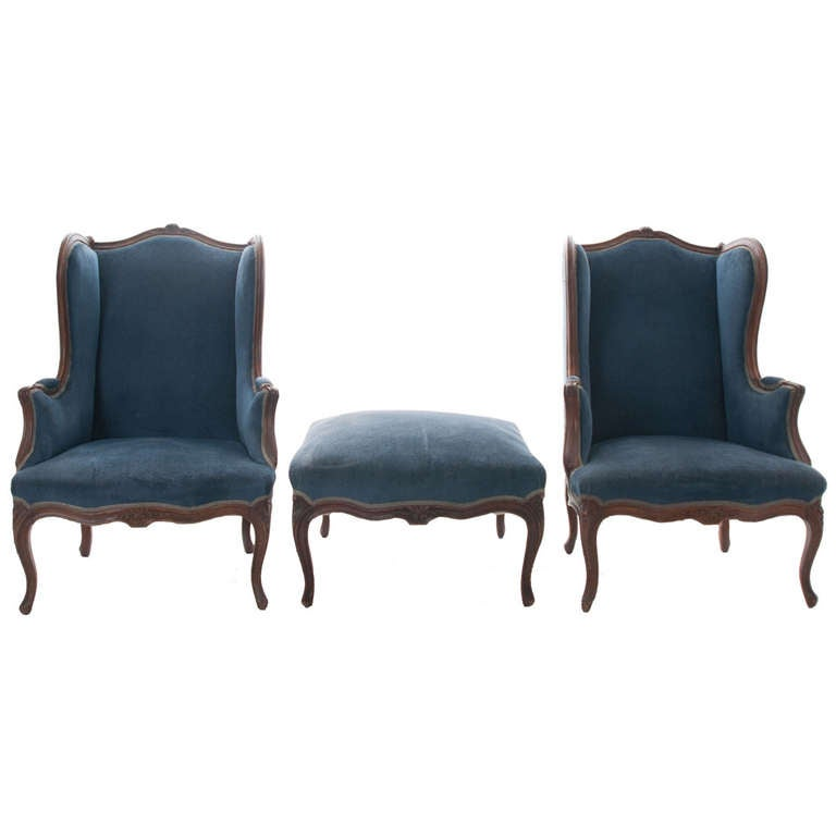 French, 19th Century Louis XV Pair of Bergères with Ottoman