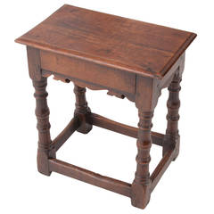 English 19th Century Carved Elm Joint Stool