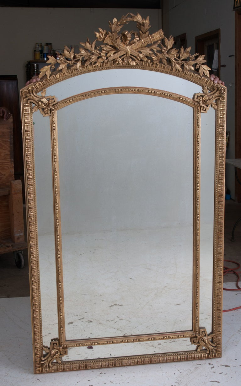 French Louis XVI Style Gold Gilt Pareclose Mirror For Sale 3