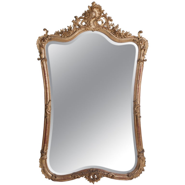 Louis XV Style Rocco Gilt Wood Mirror For Sale