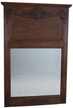 French 19th Century Carved Dark Oak Trumeau