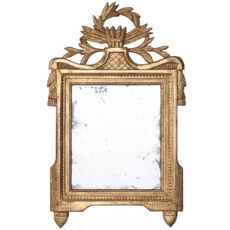Louis XVI Style 18th Century Gilt-Wood Mirror