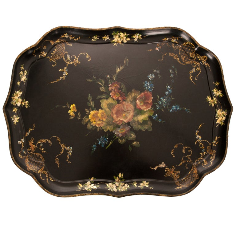 English 19th Century Black Lacquer Tray For Sale