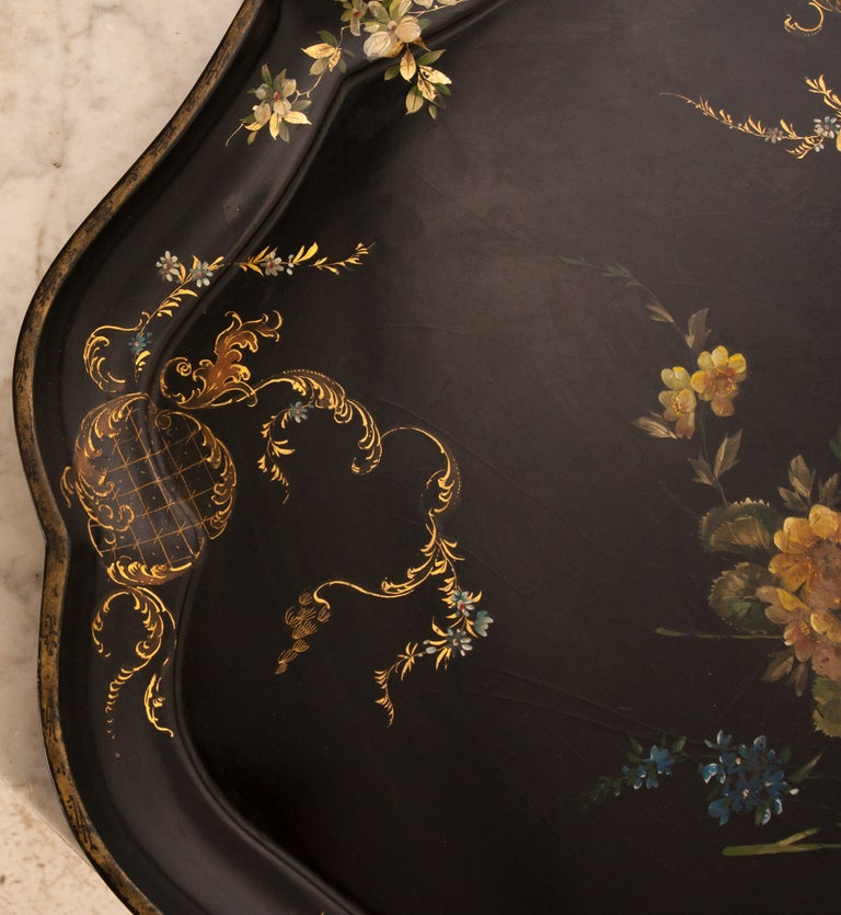 French English 19th Century Black Lacquer Tray For Sale