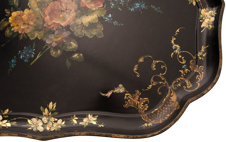 English 19th Century Black Lacquer Tray For Sale 2