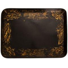English 1850s Papier Mache Black & Gold Tray