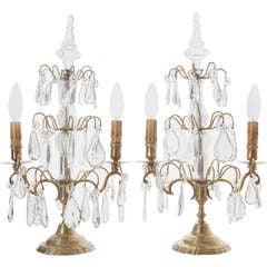 French 19th CenturyPair of Brass & Crystal 2-Light Candelabra Girandoles