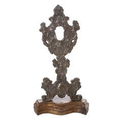 Italian 18th Century Relic Stand of Carved Wood & Silver Plate
