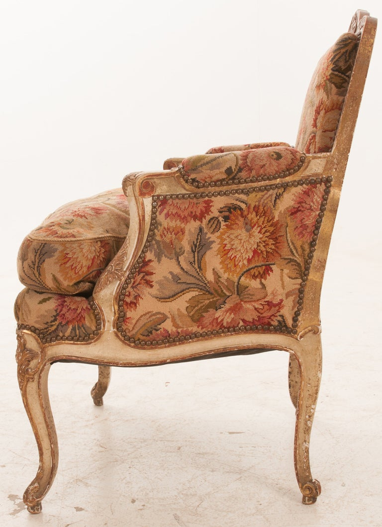 Italian 19th Century Painted And Gilt Tapestry Bergere At 1stdibs